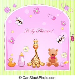 Baby shower card with toys.