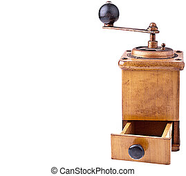 Vintage Coffee Mill - completely isolated on white - Space...