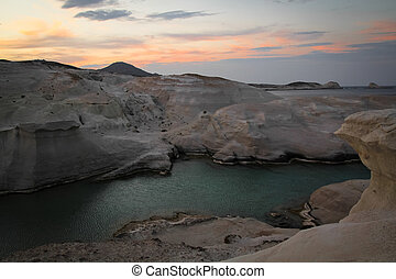 Sarakiniko beach - VIew of Sarakiniko beach at sunrise in...