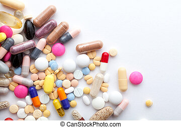 Pills on white - Colorful pills and  capsules on white