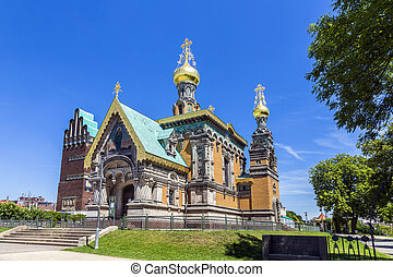 orthodox russian chappel Darmstadt under blue sky