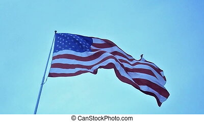 USA flag waving in the wind