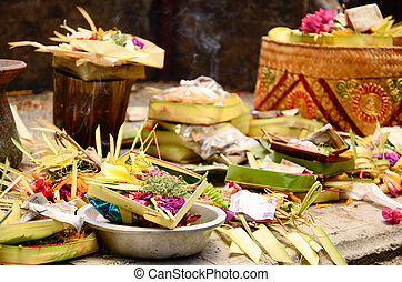 Hindu Daily Offering In Ubud, Bali, Indonesia
