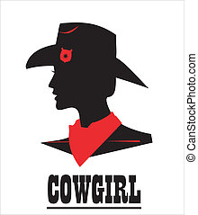 Cowgirl, sweet and beautiful - Silhouette of cowgirl with...