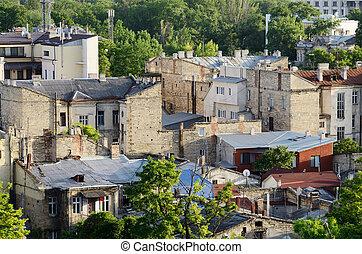 Dächer, odessa, altes, Stadt, gemacht, Kalkstein,...