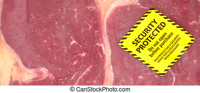 Fresh Meat Security Tag - Pack of fresh red meat with an...