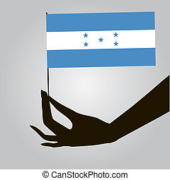 Hand with flag Honduras - Flag of Honduras in a female hand....