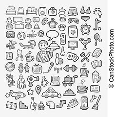 Hotel icons sketch - Set of hotel and vacation icons sketch...