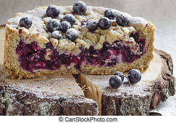 Cutaway blackcurrant crumble on wooden stump From series...