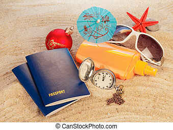Christmas vacation on sea - Passport christmas ball,...