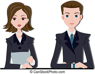 News Anchors with Clipping path