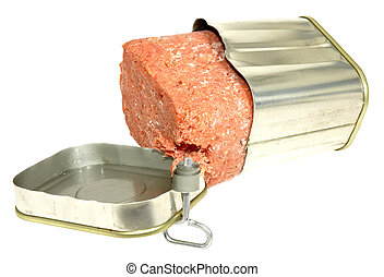 Tinned Corned Beef - Opened tin of corned beef meat,...