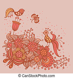 Romantic card with flowers, birds and butterflies