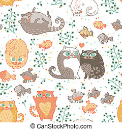 Seamless pattern with cats and birds