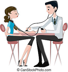 Patient Medical Checkup - Physician taking BP with clipping...