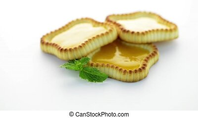 Lime jam tartlets isolated on white background