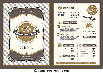 vendemmia, cornice, ristorante, disegno,  menu