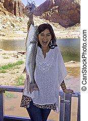 niña, pesca, lago, Powell