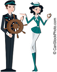 Captain and Crew - Ship Captain and Crew with clipping path