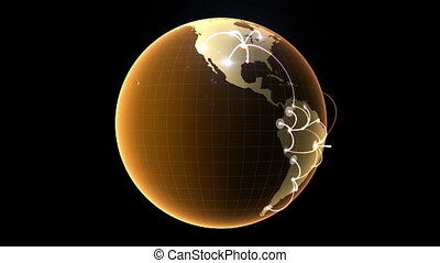Growing network across the globe 3d animation, seamless loop...