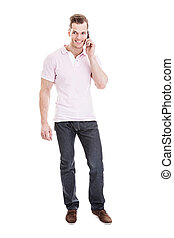 Talking on the phone - Full length portrait of a young man...