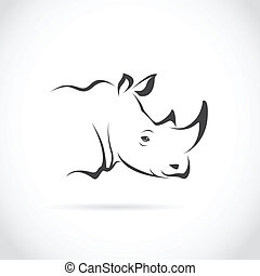 Vector image of rhino head on white background