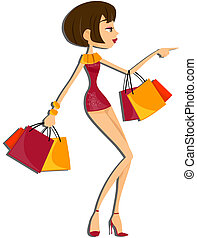Shopping Girl with Clipping Path