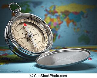 Compass on world map background. Navigation.