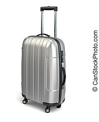 Luggage, Aluminium suitcase on white isolated background. 3d