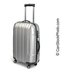 Luggage, Aluminium suitcase on white isolated background. 3d