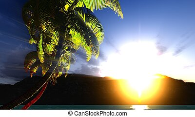 Paradise on Hawaii Island with awesome skyscape