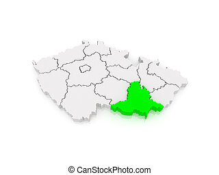 Map of South Moravian Region Czech Republic 3d