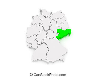 Map of Saxony. Germany. 3d