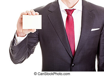 businessman showing blank card