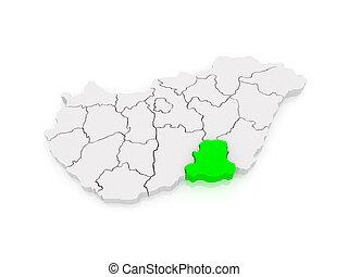 Map of Csongrad. Hungary. 3d