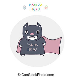 batman  - funny character - the hero panda. vector clip art