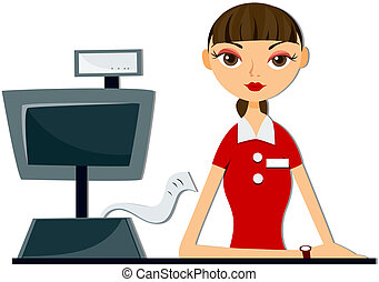 Cashier with Clipping Path