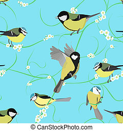 titmouse pattern with flowers - spring titmouse seamless...