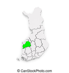 Map of Southern Ostrobothnia. Finland. 3d