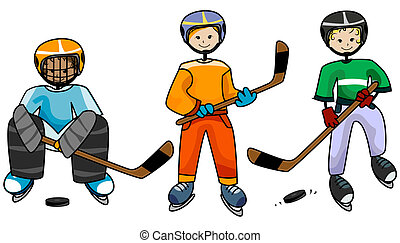 Ice Hockey Kids with Clipping Path