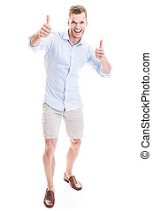 Young man with thumbs up, isolated on white