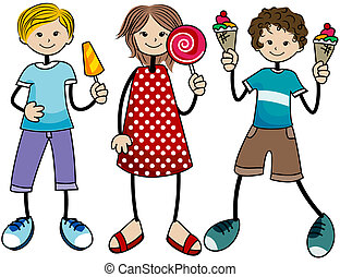 Sweets Kids with Clipping Path
