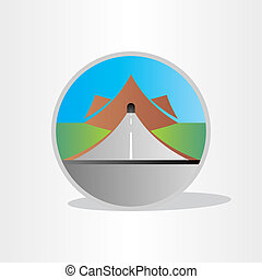highway tunnel in mountain design abstract icon element