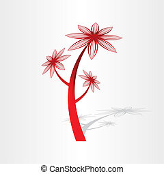 植物, 花, デザイン, 赤