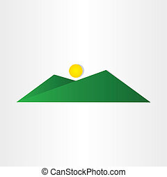 abstract green mountain with sun design element