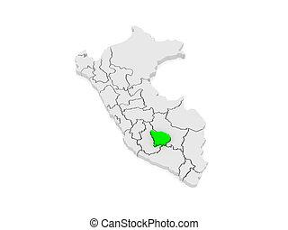 Map of Apurimac. Peru. 3d