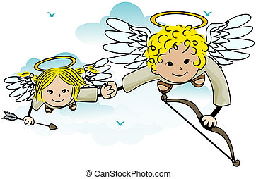 Cupids - Flying Cupids with Clipping Path