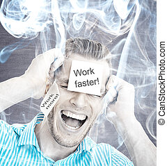 Stressed businessman with smoke in head