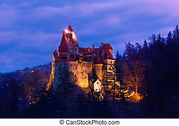Dracula Castle with lights at night in Romania - Beautiful...