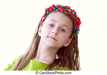 Lovely little dancer posing with wreath, close-up -...